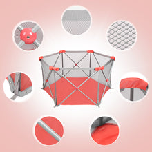 Odoland Pink Safety Playpen Portable Foldable Mesh Playard Infants Toddler Fence
