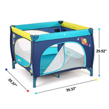 Odoland	39''x 39'' Infant Toddler Foldable Playpen Playard With Mattress Rail Fence Blue