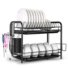 2 Tier Dish Drying Rack Large Cutlery Holder Free Standing Shelf Drainer Storage