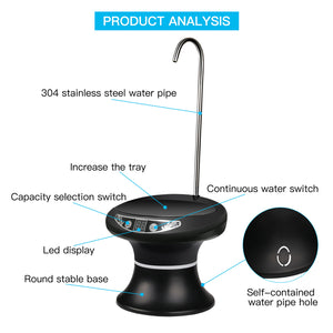 Wireless Electric Pump Outdoor Water Bottle Pump Dispenser Drinking USB Charging