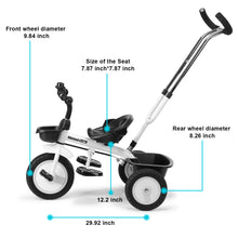 Kids Toddler Tricycles Bicycle Stroller Retractable Push Handle Safe Belt Trike