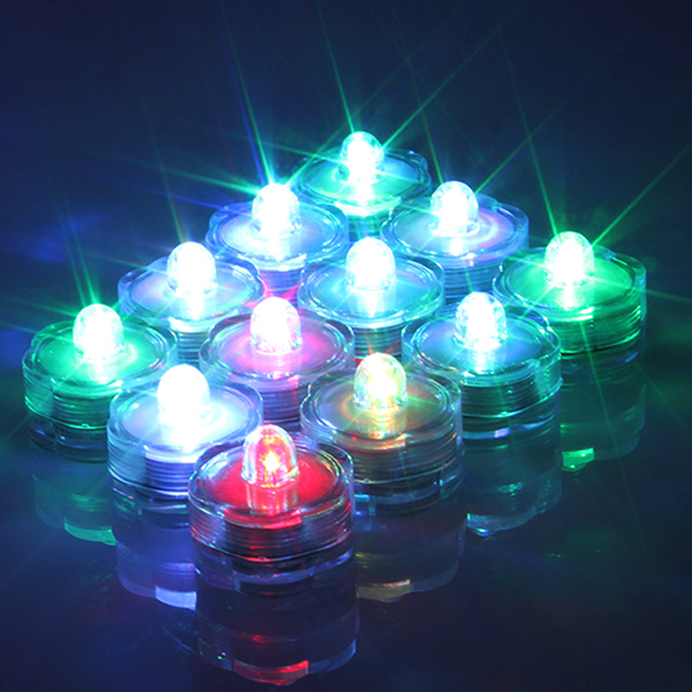 24pcs Submersible LED Tea Light Candle Flameless Waterproof RGB Lamp Underwater