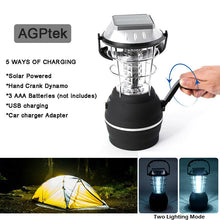 36 LED Solar Lantern Camping Light Waterproof Hand Crank Dynamo USB Rechargeable