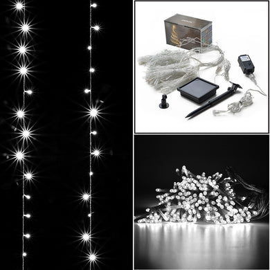 2-way operated curtains Light solar/power controller, 3Mx3M 300 LED,8 model memory function controller,starry fairy lights for indoor/outdoor decorations Christmas fair Lighting for outdoor Garden, Patio, Party, Waterproof. white color