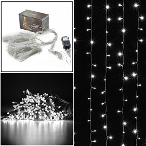 Safety voltage operated curtains Light 3Mx3M 300 LED,8 model with memory function starry fairy lights for indoor/outdoor decorations Christmas fair Lighting for outdoor Garden, Patio, Party, Waterproof .wihte color