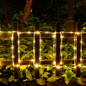 13M 100LED Warm White Fairy String Rope Light Solar Power Controller Waterproof