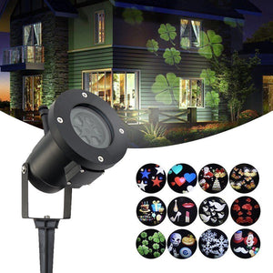 12Pattern Outdoor LED Moving Laser Projector Light Landscape Garden Xmas Lamp US 12W