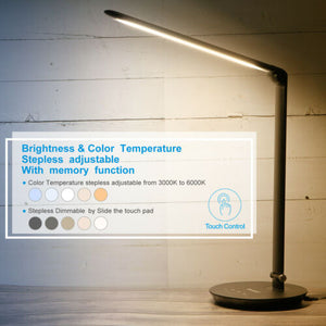 Foldable AC LED Desk Table Lamp Adjustable Touch Reading USB Rechargeable Port
