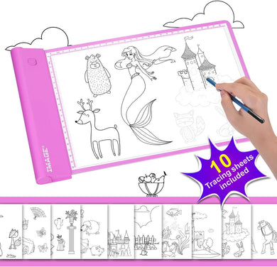 IMAGE Light-up Tracing Pad Pink Coloring Drawing Art Gift Toy Girls Boys Age 6+