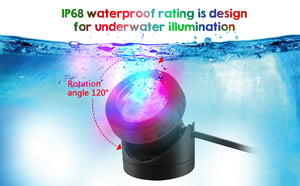 48LED Waterproof Underwater Spotlight Lights Submersible Lamp w/ Timer RGB Pond