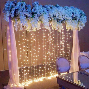 10ft 300 LED Cool White Window Curtain String Light Wedding Party Home