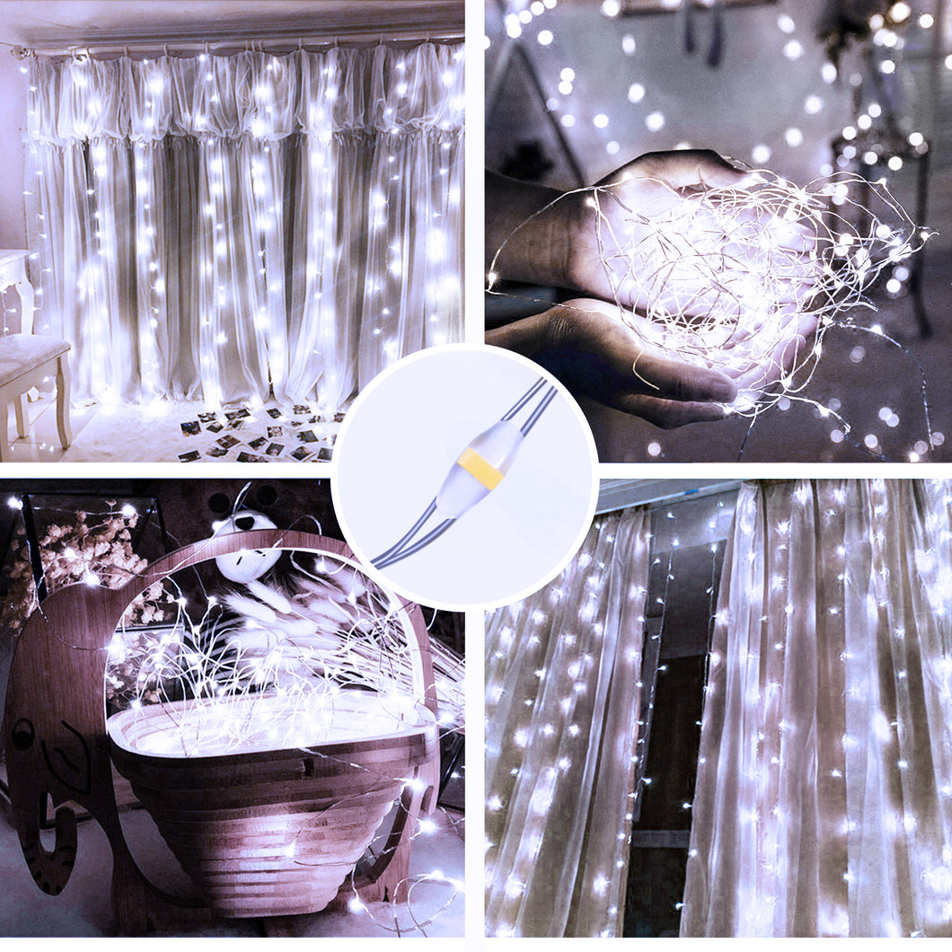 White  USB Remote Control 3*3M 300LED String Lights Waterproof