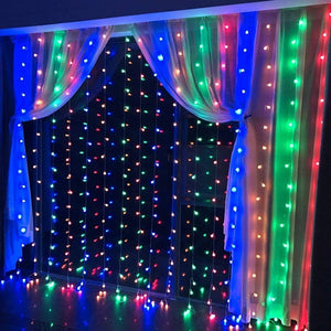 19.6*6.6FT 448LED RGB Multi-color  Waterproof String Fairy Curtain Lights Window Xmas Decor