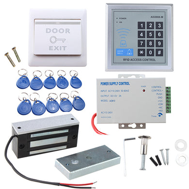 Full set RFID Door Access Control system Kit With 60kg 130LBs Electric Magnetic lock 110-240V AC to 12v DC 3A 36w Power Supply Proximity Door Entry keypad 10 Key Fobs EXIT Button