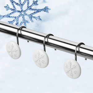 12pcs Snowflake  Anti-Rust Round Shower Curtain Hooks for Home Bathroom Decor