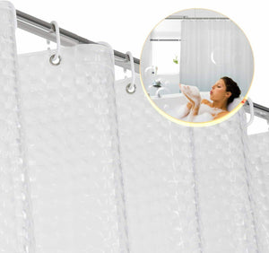 72in FITNATE EVA Shower Clear Curtain Liner Non Toxic Rust Proof Grommets Hooks
