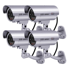 Dummy Security Camera, Fitnate 4 Packs Fake Security Camera CCTV Surveillance System with LED Red Flashing Light for Both Indoor & Outdoor Use + Security Camera Warning Stickers × 4 ( Sliver )
