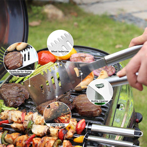 14pcs BBQ Grill Tool Set Barbecue Kabob Skewers Tongs Spatulas Brush Cutting Kit