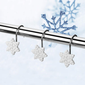 12pcs Snowflake Anti-Rust Tie Backs Shower Curtain Hooks for Bathroom Decorative
