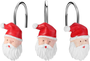 12pcs Santa Claus Anti-Rust Shower Curtain Hooks for Home Bathroom Decorative