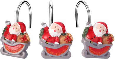 12pcs Santa Claus Shower Curtain Anti-Rust Hooks for Home Bathroom Decorative