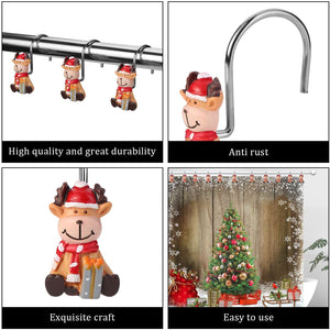 12pcs Christmas Elk Shower Curtain Anti-Rust Hooks for Home Bathroom Decorative