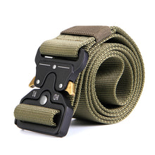 "Men's Tactical Belt, Odoland 1.7""/4.3cm Adjustable Heavy Duty Nylon Webbing Army Solider, Quick Release Military Belt Utility Riggers Belt for Police, Security, Law Enforcement & Outdoor ( Length: 49"") - 3 Colors"