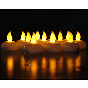 Lot 12 LED Floating Tea Waterproof Wedding Party Floral Decoration flameless Candle yellow color