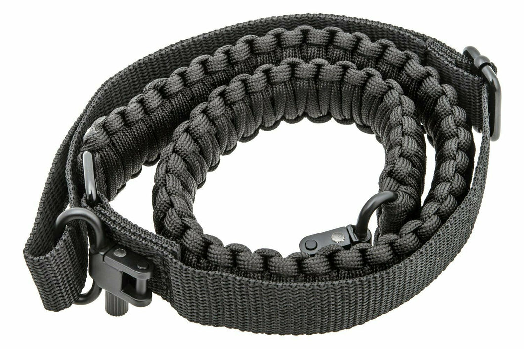 Black Paracord 550 Rifle Shotgun Crossbow Gun Sling Tactical Adjustable Swivels