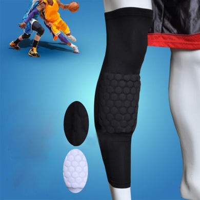 AGPtEK Strengthen Kneepad Honeycomb Pad Crashproof Antislip Basketball Leg Knee Long Sleeve Protective Pad Black L size