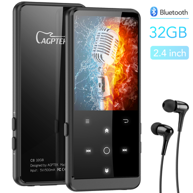 Bluetooth 4.0 MP3 Player with 2.4 Inch TFT Color Screen Lossless Sound Music Player