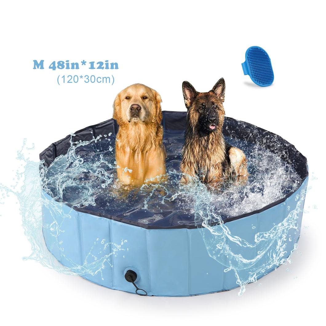 OWNPETS Foldable Pet Pool, Portable Dog Swimming Bathing Pool, Non-Slip Multi-Purpose Kiddie Pool Bathtub for Kids, Dogs, Cats, Pigs & More Pets M size