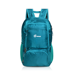 Packable travel backpack lightweight 35L large handy multiple storage compartments folding daypack water resistant fabric outdoor hiking color green