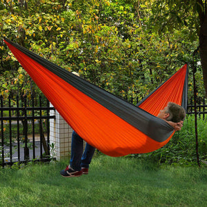 Portable Double Person Canvas Hammock Outdoor Camping Garden Beach Travel Swing