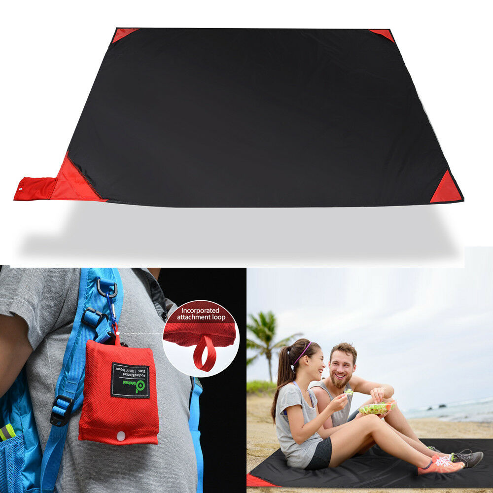 63x44in Quick Drying Mat Waterproof Picnic Sheet Beach Blanket Pocket Sand Pad