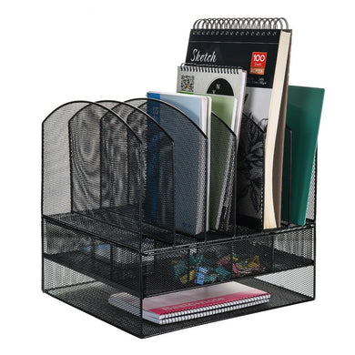 6 Trays 2 Tier Mesh Desk File Sorter Organizer Office Document Holder w/ Drawer