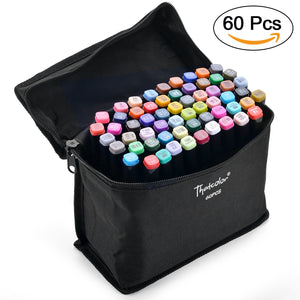 60 Colors Dual Tips Marker Pen Set Permanent Drawing Sketching Highlighting Gift