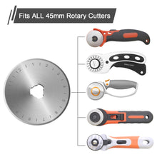 45mm Rotary Cutter Blades Set (12 Pieces), AGPtek Rotary Replacement Blades for Quilting Scrapbooking Sewing Arts Crafts, Fits Fiskars, Olfa, Truecut, Martelli & More