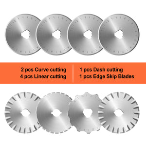 45mm Rotary Cutter 8 Replacement Blades for Cutting Fabric Papers Foams Leathers