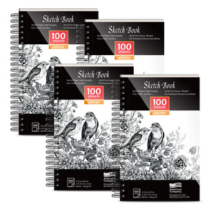 Sketch Book Set 4 Packs 400 Sheets Ideal for Pens Pencils Pastels Charcoal Graphite