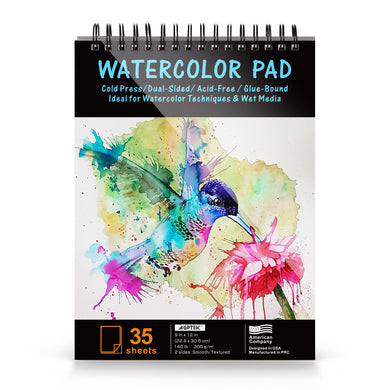 AGPtEk Watercolor Paper Pad 9 * 12 inches 35 Sheets Acid Free Great for Watercolor Painting and Wet Media