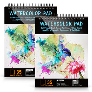 AGPtEk Watercolor Paper Pad 2 Packs 9 * 12 inches 70 Sheets Acid Free Great for Watercolor Painting and Wet Media