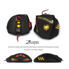 Zelotes Computer Gaming Mouse 8000 DPI 8 Button USB LED Light Optical Wired Mice