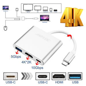 Type C USB 3.1 to USB-C 4K HDMI USB 3.0 Adapter 3 in 1 Hub For Macbook Pro