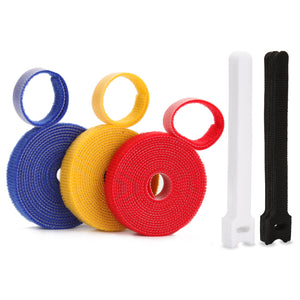 AGPtek 3 Rolls Fastening Cable Ties Reusable Nylon+20pcs Cable Straps Organizer