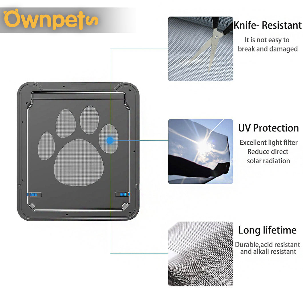 OWNPETS Pet Dog Screen Door Magnetic Flap Screen Automatic Lockable Gate 12*14in