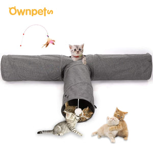 Collapsible Cat Tunnel 3-Way Tube Interactive Indoor Peek Hole Kitten Puppy Toys