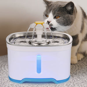 84oz/2.5L Pet Water Dispenser Fountain Cat Dog LED Light Drinking 2 Spray Heads