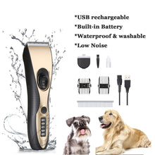 OWNPETS Pet Hair Clipper Set, Low Noise Waterproof Dog Grooming Tools with LED Display, USB Rechargeable Cordless Pet Hair Trimmer Kit for Dogs, Cats, Rabbits & Different Parts of Pets
