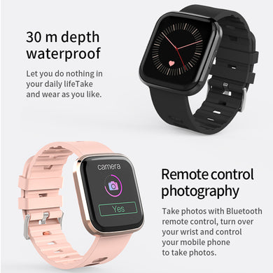 Black Waterproof Bluetooth Smart Watch Phone Mate Heart Rate Tracker For iOS Android